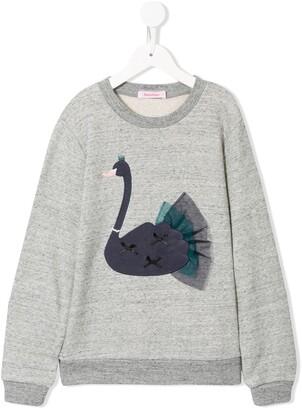 Familiar Long Sleeve Applique Swan Sweater