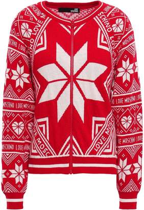 Love Moschino Intarsia-knit Cardigan