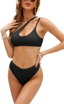 Thumbnail for your product : Upopby Womens One Shoulder Bikini Set High Waist Swimwear Cheeky High Cut Two Piece Swimsuit Bathing Suit - black - Medium