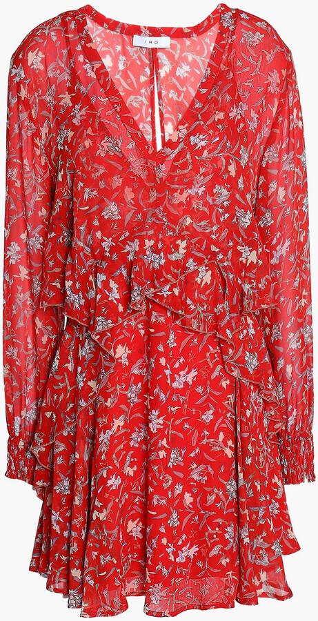IRO Beaumont Ruffled Printed Chiffon Mini Dress
