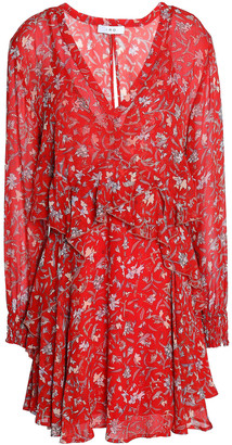 IRO Beaumont Ruffled Floral-print Crepon Mini Dress