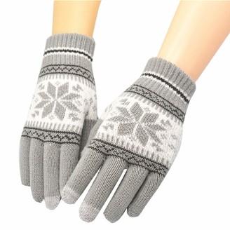 HUYURI Knit Wool Women Girl Snowflake Winter Keep Warm Mittens Gloves Gray