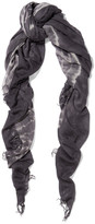 Chan Luu Tie-dyed Cashmere And Silk-blend Scarf - Dark gray