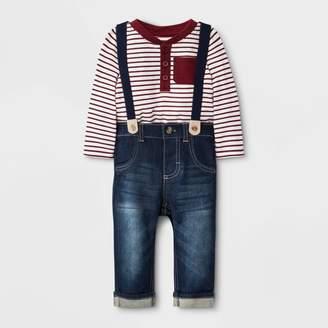Cat & Jack Baby Boys' Striped Top with Denim Suspenders Bottom Set - Cat & JackTM Maroon/Blue