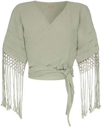 Caravana Antigone fringed sleeves wrap top