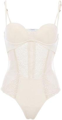 La Perla Macrame Tale Guipure Lace, Tulle And Stretch-jersey Bodysuit