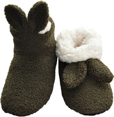 Angelina Olive Bunny Ear Sherpa-Lined Slippers