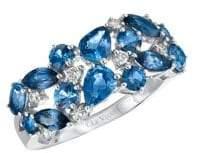 LeVian Le Vian Blueberry Sapphire, Cornflower Ceylon Sapphire and 14K Vanilla Gold Ring