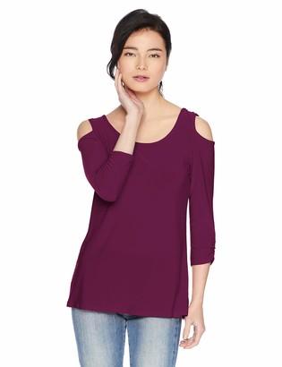 Star Vixen Women's Petite 3/4 Sleeve Cutout Cold Shoulder Top