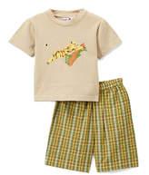 Tan Tiger Tee & Green Plaid Shorts - Toddler & Boys