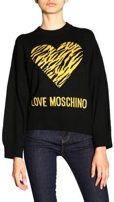 Love Moschino Sweater Long-sleeved Shirt With Maxi Logo And Animalier Heart