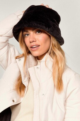 Nasty Gal Womens Let's Head Out Faux Fur Bucket Hat - Black