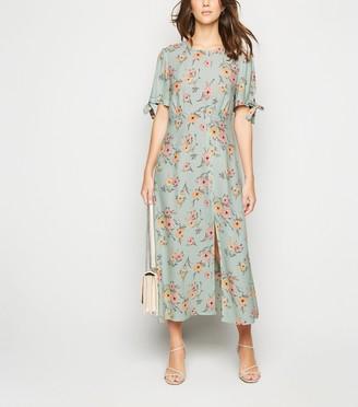 New Look Floral Tie Sleeve Midi Dress