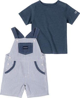 Calvin Klein Jeans Boys' Short Overalls 0065 - Blue Crewneck Tee & White & Blue Railroad Stripe Shortalls - Infant
