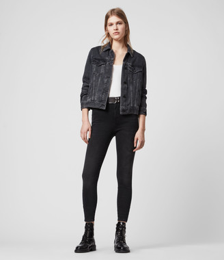 AllSaints Phoenix Ankle Ultra High-Rise Superstretch Shaping Skinny Jeans, Soft Black