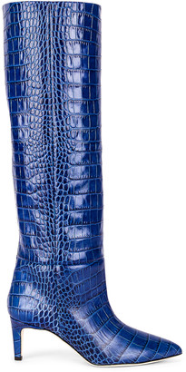 Paris Texas Moc Croco 60 Tall Stiletto Boot in Bluette | FWRD