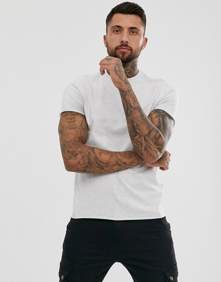 Asos DESIGN heavyweight t-shirt with crew neck and raw edges in white marl