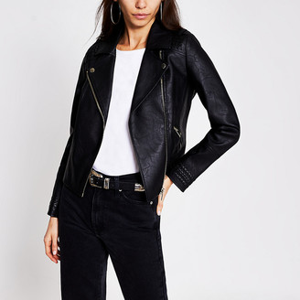 River Island Black faux leather whipstitch biker jacket