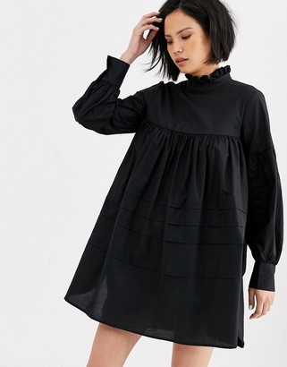 Only cotton smock mini dress with ruffle neck-Black