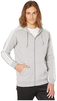 adidas 3-Stripes Full Zip Hoodie (Medium Grey Heather) Men's Sweatshirt