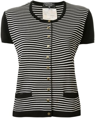 Chanel Pre Owned 1995 Striped Buttoned Knitted Top