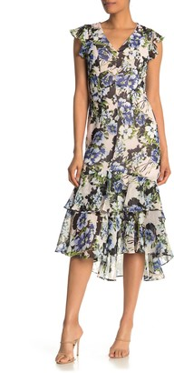Tommy Hilfiger Floral Print High/Low Ruffle Midi Dress