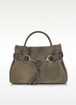 Brown Taupe Suede and Leather Satchel Bag