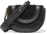 Diane von Furstenberg Bullseye Mini Suede-paneled Leather Shoulder Bag - Black