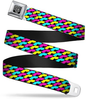 Buckle Down Buckle-Down Buckle-Down Seatbelt Belt Mustaches Regular Accessory