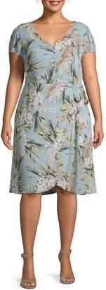 Estelle Plus Floral Knee-Length Dress