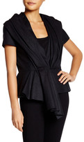 Oscar de la Renta Short Sleeve Pleated Wool Blend Skyline Jacket