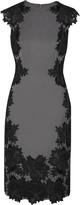 Lela Rose Guipure lace-appliquéd crepe dress
