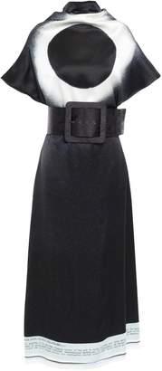 Maison Margiela Belted Printed Satin Midi Dress