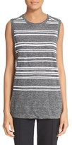 DKNY Women's Sleeveless Stripe Linen & Cotton Tank