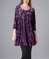 Aster Purple Abstract Crushed Velvet Tunic - Plus Too