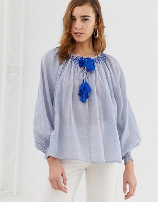 Pepe Jeans Leah tassel tie blouse-Blue
