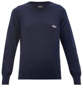 A.P.C. Logo-jacquard Cotton Sweater - Womens - Navy