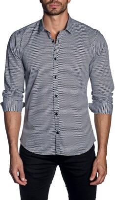 Jared Lang Trim Fit Dot Button-Up Shirt