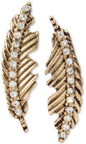 Betsey Johnson Gold-Tone Feather Crystal Accent Mismatch Earrings