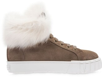 Miu Miu Shearling High-Top Sneakers