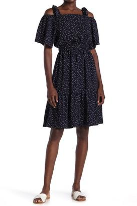 FRNCH Tie Strap Cold Shoulder Patterned Dress
