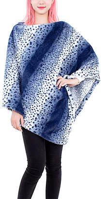 JC Sunny Women's Ponchos BLUE - Blue Leopard-Stripe Faux Fur Poncho - Women