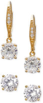 Giani Bernini 2-Pc. Set Cubic Zirconia Stud and Drop Earrings in 18k Gold-Plated Sterling Silver, Only at Macy's
