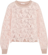 See by Chloe Guipure Lace And Knitted Cotton Sweater - Pastel pink