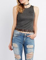 Charlotte Russe Girl Gang Lace-Trim Tank Top