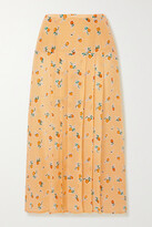 Thumbnail for your product : Rixo Nancy Pleated Floral-print Silk-crepe Midi Skirt - Yellow