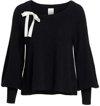 Cinq à Sept Amelia Balloon-Sleeve Ribbon Cashmere Sweater