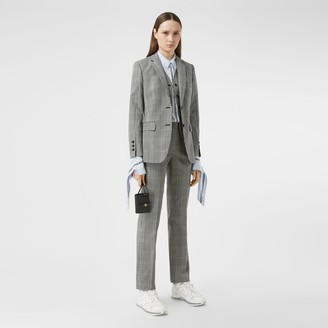 Burberry Waistcoat Panel Check Technical Wool Tailored Jacket