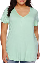 Boutique + Boutique+ Double V-Neck Basic Tee - Plus