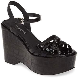 Jeffrey Campbell Elenna Croc Embossed Platform Wedge Sandal